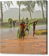 Local People Crossing The Road In Malawi Canvas Print