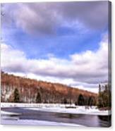 Lock And Dam Snowscape Canvas Print