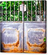 Locked Gate With Trees Canvas Print