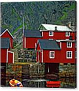 Lofoten Fishing Huts Oil Canvas Print