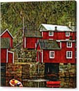 Lofoten Fishing Huts Overlay Version Canvas Print