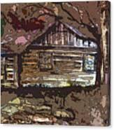 Log Cabin In Autumn Canvas Print