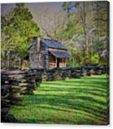 Log Cabin, Smoky Mountains, Tennessee Canvas Print