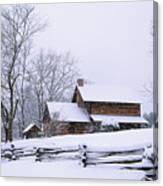 Log Cabin In Snow Canvas Print