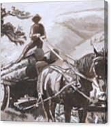 Log Wagon Historical Vignette Canvas Print