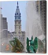 Logan Circle Fountain With City Hall In Backround 2 Canvas Print