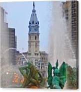 Logan Circle Fountain With City Hall In Backround 3 Canvas Print