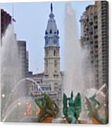Logan Circle Fountain With City Hall In Backround 4 Canvas Print