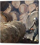 Logger Cutting Tree Trunk, Cameroon Canvas Print