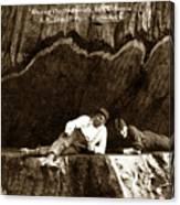 Logger With Ax On Springboard Loggers Sitting Inside Undercut  Circa 1890 Canvas Print
