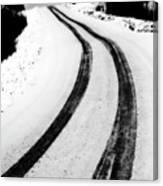 Logging Road In Winter Canvas Print