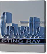 Logo Of 1966 Chevrolet Corvette Sting Ray 427 Turbo-jet Canvas Print
