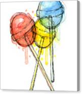Lollipop Candy Watercolor Canvas Print