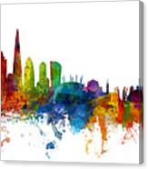 London And Warsaw Skylines Mashup Canvas Print