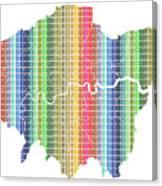 London Boroughs Map - Rainbow Canvas Print