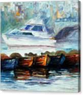 London-fog Over Thames - Palette Knife Oil Painting On Canvas By Leonid Afremov Canvas Print