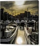 London. St. Katherine Dock. Into The Sun. Canvas Print