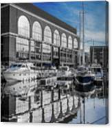London. St. Katherine Dock. Reflections. Canvas Print