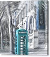 London Telephone Turquoise Canvas Print