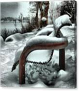 Lonely Bench In Snowfall Canvas Print