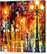 Lonely Night 3 - Palette Knife Oil Painting On Canvas By Leonid Afremov Canvas Print