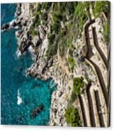 Long And Twisted Walk To The Shore - Azure Magic Of Capri Canvas Print