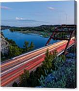 Long Exposure View Of Pennybacker Bridge Over Lake Austin At Twilight - Austin Texas Hill Country Canvas Print