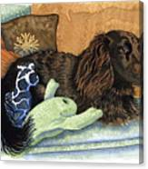 Long-haired Dachshund Watercolor Canvas Print