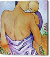 Long Impasto Motherhood Vertical Painting  Canvas Print