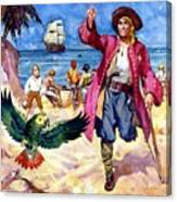 Long John Silver And His Parrot Canvas Print