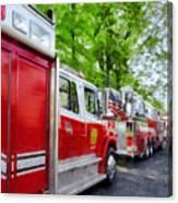 Long Line Of Fire Trucks Canvas Print