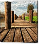 Long Long Way To The Bayou - Louisiana Dock Canvas Print