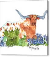 Longhorn In The Cactus And Bluebonnets Lh014 Kathleen Mcelwaine Canvas Print