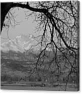 Longs Peak And Mt. Meeker The Twin Peaks Black And White Photo I Canvas Print