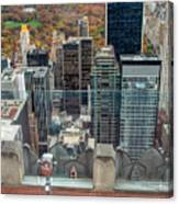Looking Down At New York Central Park Surounded By Buildings Canvas Print