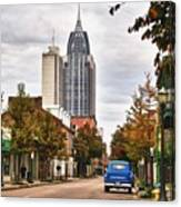Looking Down Dauphin Street And The Blue Truck Canvas Print
