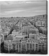 Looking Down On Barcelona From The Sagrada Familia Black And White Canvas Print