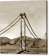 Looking North At The Golden Gate Bridge Under Construction With No Deck Yet 1936 Canvas Print