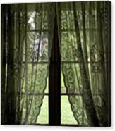 Looking Out The Window Of A Log Cabin Canvas Print