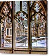 Looking Through An Arched Window At Princeton University At The Courtyard Canvas Print