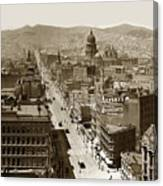Looking Up Market Street From The Call Building With City Hall Circa 1900 Canvas Print