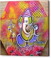 Lord Ganesha with Mantra Om Gam Ganapateye Namaha Canvas Print