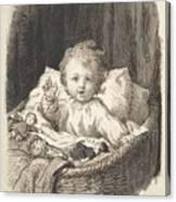 Lorenz Frolich Danish, Copenhagen 1820-1908 Hellerup, Child In A Crib Canvas Print