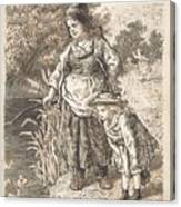 Lorenz Frolich Danish, Copenhagen 1820-1908 Hellerup, Three Little Girls In A Room Arguing And Spi Canvas Print