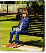Lorna On A Bench Canvas Print