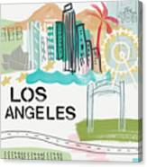 Los Angeles Cityscape- Art By Linda Woods Canvas Print