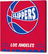 Los Angeles Clippers Vintage Basketball Art Canvas Print