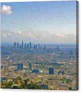 Los Angeles Skyline Between Power Lines Canvas Print