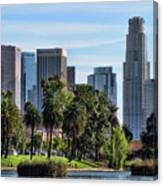 Los Angeles Skyline From Echo Park Canvas Print