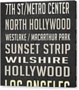 Los Angeles Vintage Places Poster Canvas Print